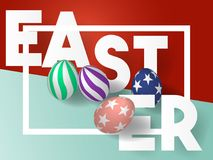 Happy Easter Day. 3d Easter Eggs with trend design. Holiday Background. Vector Illustration. EPS 10 Royalty Free Stock Image