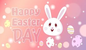Happy Easter Day Decoration Background Design With Rabbit And Eggs On Pink Bokeh. Vector Illustration Stock Photos
