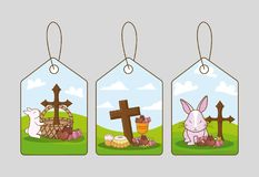 Happy easter day design. Tags of Happy easter day design with rabbit and related icons over gray background vector illustration Stock Image