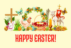 Happy Easter Day greeting banner design Royalty Free Stock Photos