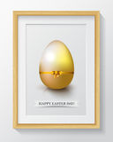 Happy Easter Day greeting card with colored eggs and flowers. Stock Photos