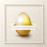 Happy Easter Day greeting card with colored eggs and flowers. Hand Drawn and Handwritten Design Elements. Lettering Design royalty free illustration