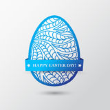 Happy Easter Day greeting card with colored eggs and flowers. Hand Drawn and Handwritten Design Elements. Lettering Design vector illustration