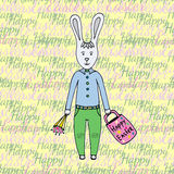 Happy Easter day! Greeting card with cute easter Bunny. Happy Easter Royalty Free Stock Photos
