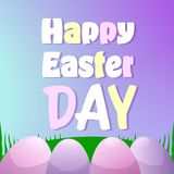 Happy Easter Day Greeting Card Design With Colorful Eggs On Green Grass Royalty Free Stock Image