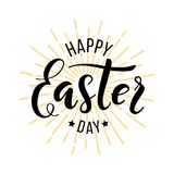 Happy Easter Day. Hand drawn lettering for greeting card stock images