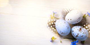 Happy Easter day; Holidays background with Easter eggs and sprin Stock Photo