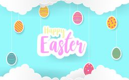 Happy Easter Day paper art card design with candy colors.Happy Easter abstract haging with 2D, paper art eggs in candy blue sky. V. Ector illustration. EPS 10 Royalty Free Illustration