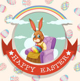 Happy Easter day with rabbit on the chair Royalty Free Stock Image