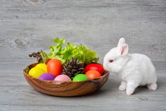 Happy Easter Day. Rabbit with colorful Easter eggs in a wooden tray decorated with vegetables. Cute Easter bunny with painted stock photography