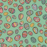 Happy Easter day seamless pattern with colored decorative eggs, . stock illustration
