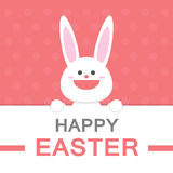 Happy Easter day smile bunny cartoon vector greeting card template pink pattern Royalty Free Stock Image