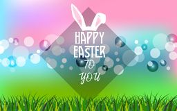 Happy Easter Day to You abstract banner and grass with bokeh lights in background. Vector Illustration. EPS 10 Royalty Free Stock Photography