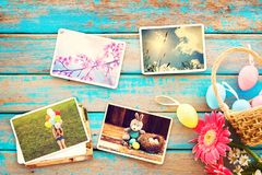 Happy easter day on wood table  backgroud. Royalty Free Stock Photo