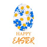 Happy Easter. Decorated blue flat egg made of Daisy and blue flowers, forget-me-not, flax,. Chamomile wildflower background. Vector. floral collection. Design Stock Image