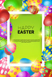 Happy Easter Decorated Colorful Egg Holiday Symbols Greeting Card Stock Photo