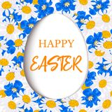 Happy Easter. Decorated paper cut white flat egg on Daisy and blue flowers, forget-me-not, flax, chamomile wildflower Royalty Free Stock Photos