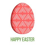 Happy Easter. Decorated red festive egg with simple abstract decoration. isolated. Spring holiday. Vector Illustration. For decoration, prints, postcards Stock Photography