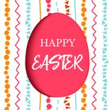 Happy Easter. Decorated red flat egg with simple abstract ornaments. simple pink, orange, red, blue stripes, Stock Images
