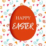 Happy Easter. Decorated red flat egg with simple abstract ornaments. simple pink, orange, red, blue stripes, Stock Photos