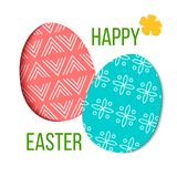 Happy Easter. Decorated red and green festive eggs with simple abstract decoration. isolated. forget-me-not. Flower. Spring holiday. Vector Illustration. For Stock Image