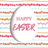 Happy Easter. Decorated white flat egg with simple abstract ornaments. simple pink, orange, red, blue stripes, Royalty Free Stock Photo