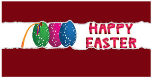 Happy easter decoration inside torn paper background. Happy easter decoration with text, eggs and easter whip all in thorn paper background Royalty Free Stock Image