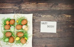Happy easter and decoration. Happy easter on paper and decoration stock image