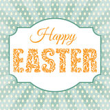 Happy Easter. Decorative Font with swirls and floral elements on a background with rays and eggs. Royalty Free Stock Photography