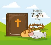 Happy easter design. With bible and related icons around  over landscape background, colorful design vector illustration Royalty Free Stock Photo