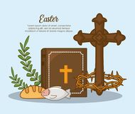 Happy easter design. With cross and bible with related icons over blue background, colorful design vector illustration Royalty Free Stock Photography