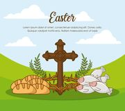 Happy easter design. With cross and related icons over landscape background, colorful design vector illustration Royalty Free Stock Photography