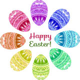Happy easter design elements. Colorful wreath of ornamental eggs. Decorative design elements. Happy Easter card stock illustration