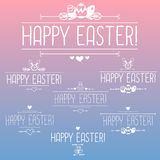 Happy easter design elements. Hand drawn labels and banners Royalty Free Stock Photos
