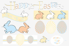 Happy easter design elements im retro look. Isolated - useful for designers Stock Photo