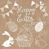 Happy Easter.   design elements for invitations, greetin. Happy Easter. Hand-drawn doodle illustration with  elements on kraft paper Stock Photo
