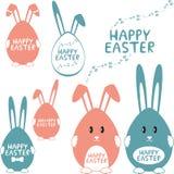 Happy easter design elements. Set of easter decorative elements stock illustration
