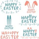 Happy easter design elements. Set of easter decorative elements vector illustration