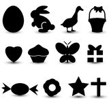 12 Happy Easter design elements. For your design, good for icons or thumbnails. We have here: egg, rabbit or bunny, duck, basket, hearth, cake, butterfly vector illustration