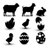 9 Happy Easter design elements. For your design, good for icons or thumbnails. We have here: eggs, rabbit or bunny, sheep, chicken, decorated eggs royalty free illustration