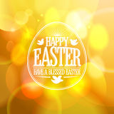 Happy Easter design on a gold bokeh background. Stock Photos
