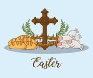 Happy easter design. With cross and related icons around over blue background, colorful design vector illustration Royalty Free Stock Image