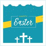 Happy Easter Design Illustration with Three Crosses and Blue Background. Good Friday and Easter Celebration. royalty free illustration