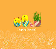 Happy Easter for design posters and flyers on the yellow background pattern of ornamental eggs.  Royalty Free Stock Images