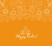 Happy Easter for design posters and flyers on the yellow background pattern of ornamental eggs.  Royalty Free Stock Image