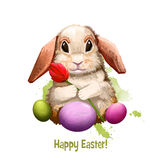 Happy Easter digital banner with rabbit in cartoon style with decorated egg. Funny bunny greeting card design. Adorable. Hare banner poster for holiday Royalty Free Stock Images