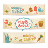 Happy easter doodle banners set Stock Photo