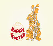 Happy easter with doodle floral bunny picture frame Stock Photos