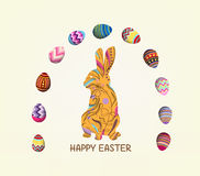 Happy easter with doodle floral bunny picture frame Royalty Free Stock Photography
