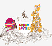 Happy easter with doodle floral bunny picture frame Stock Images